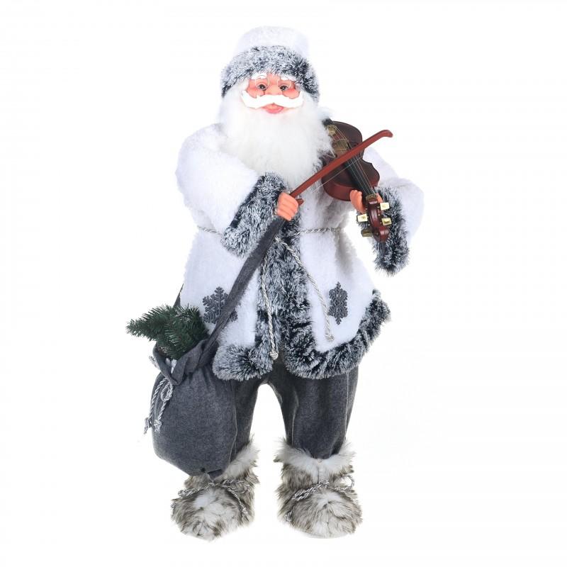 Babbo Natale Musicale.Babbo Natale Con Strumento Musicale Violino Fiori E Foglie