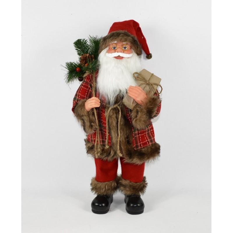 Babbo Natale 40 Cm.Babbo Natale Nordico H 40 Cm Fiori E Foglie