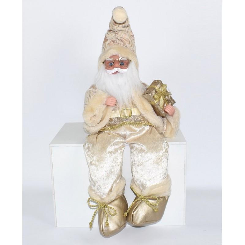 Immagini Natale Movimento.Babbo Natale Con Carillon E Giacca In Oro Pallido Fiori E Foglie