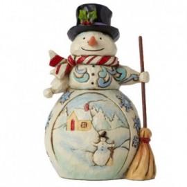 Pupazzo di neve con Scopa e cappello Jim Shore