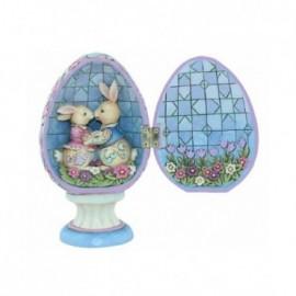 Uovo con Coppia di conigli a sorpresa incernierati Jim Shore