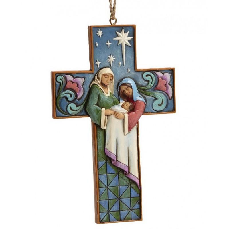 Ornamento Sacra Famiglia a forma di Croce Jim Shore