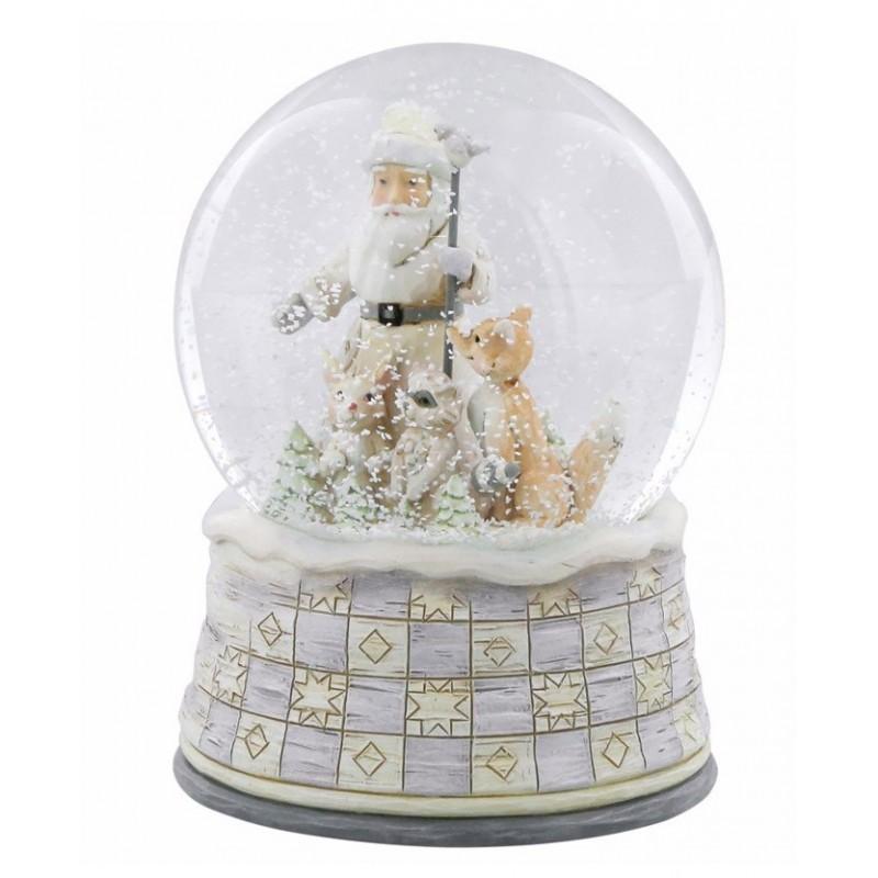 Palla di vetro con Babbo Natale nei colori del bianco e avorio Jim Shore