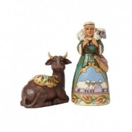 Bue e Pastore con pecorella in spalle Jim shore