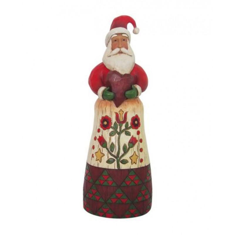 Babbo Natale in stile  Folk con cuore  in mano Jim Shore
