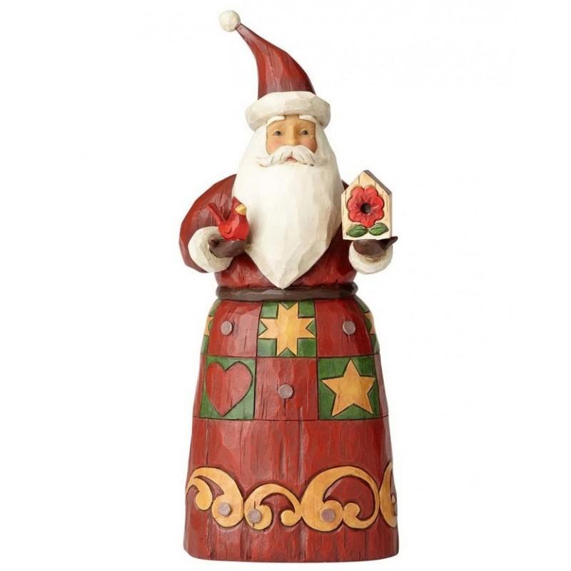 Babbo Natale con casetta degli uccelli e cardinale rosso Jim Shore