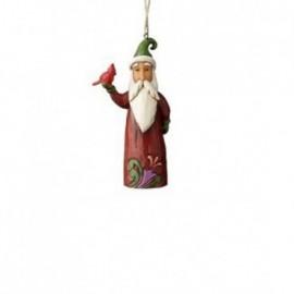 Ornamento Babbo Natale con Cardinale Rosso Jim Shore