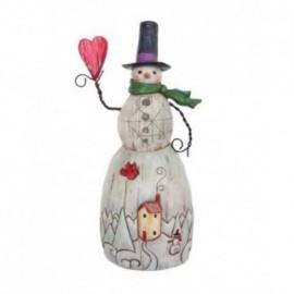 Pupazzo di neve con cuore in stile Folk con cuore in mano Jim Shore