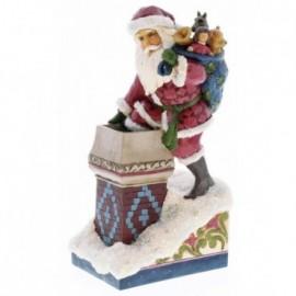 Babbo Natale su Camino con Sacco di regali Jim Shore