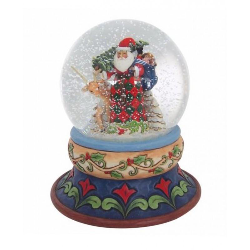 Palla di Vetro con Babbo Natale e renna Jim Shore