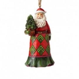 Addobbo Babbo Natale con albero sempre verde Jim Shore