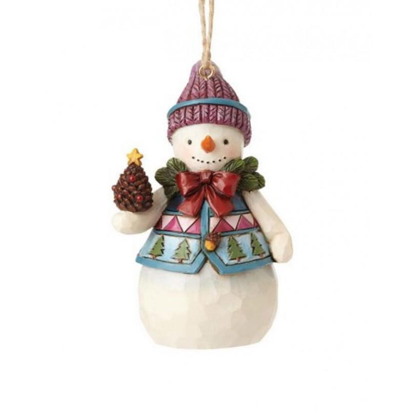 Addobbo Pupazzo di neve con albero di pino Jim Shore