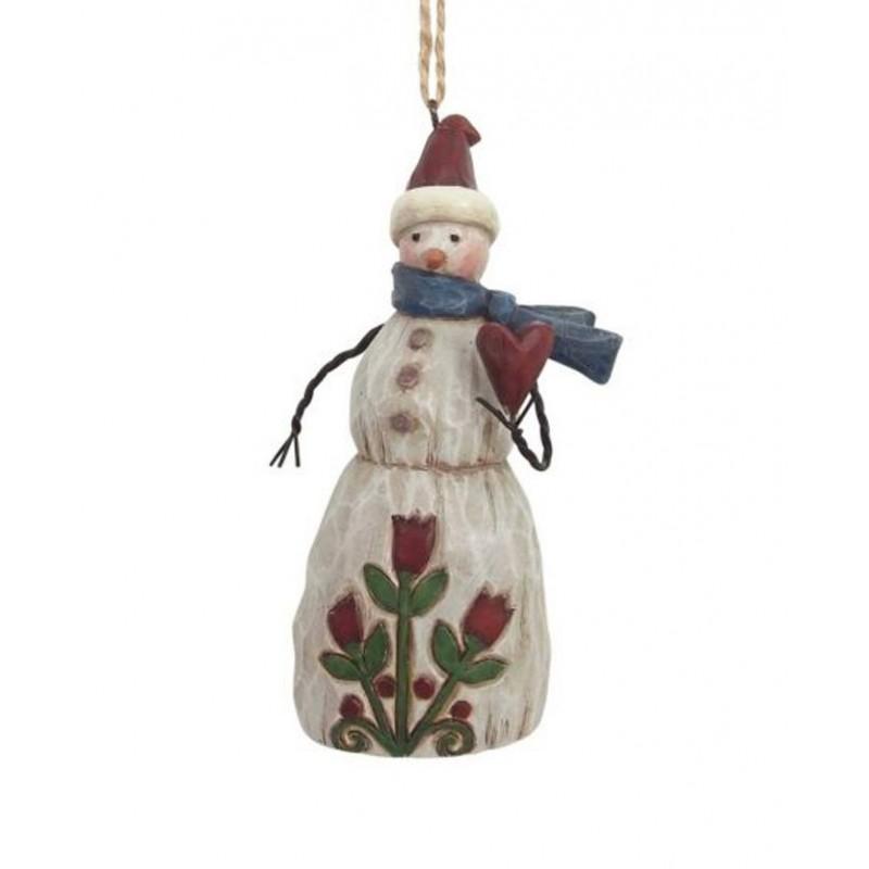 Ornamento Pupazzo di neve con Cuore Jim Shore