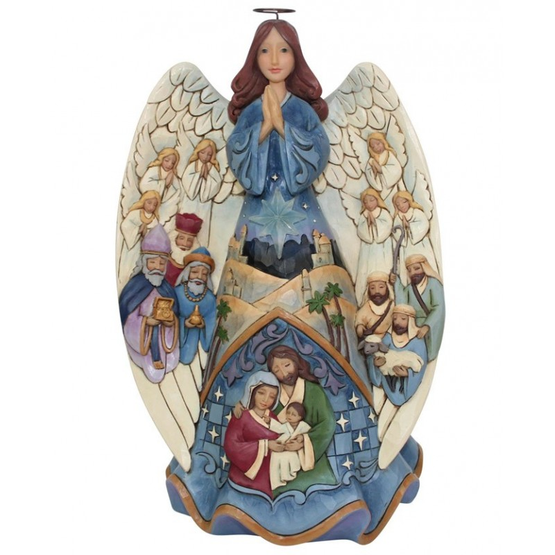 Angelo musicale con Presepe raffigurato e stella illuminata