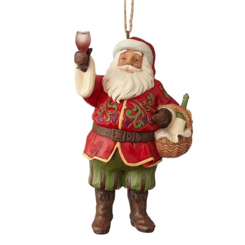 Addobbo Babbo Natale con cesto e bicchere di vino