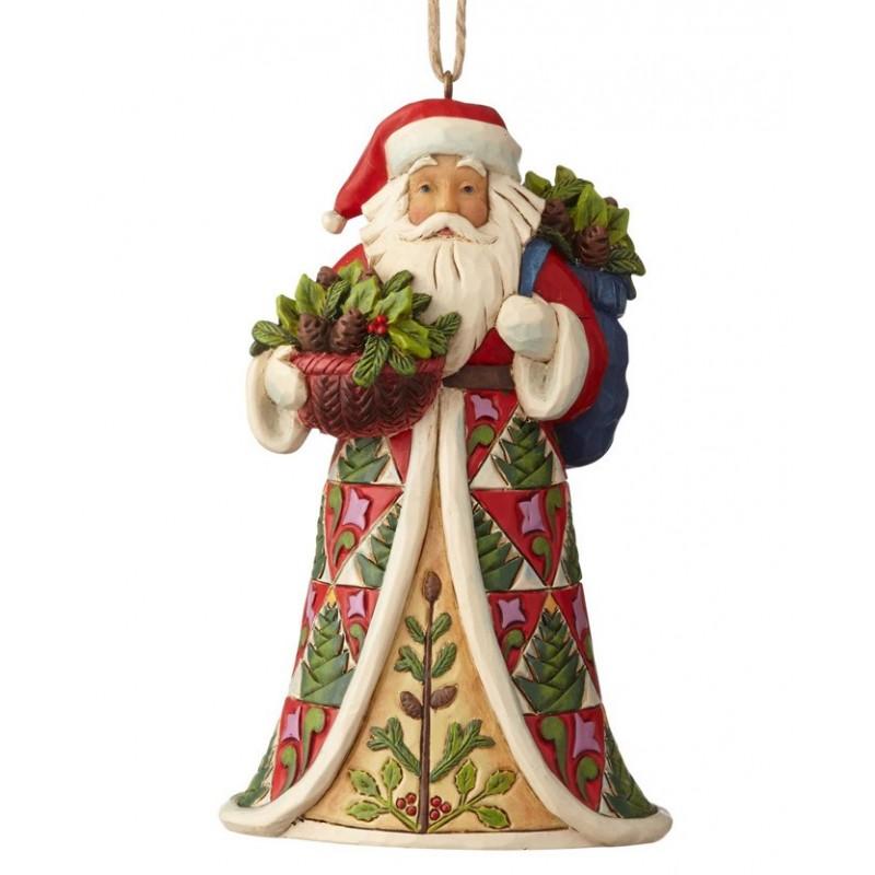 Babbo Natale Vittoriano con cesto di sempre verde e pigne