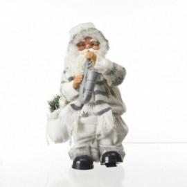 Babbo Natale con strumento Sax Musica e Movimento colore bianco