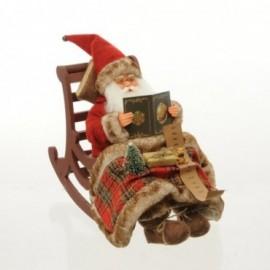 Babbo Natale seduto su dondolo con Movimento e Musica colore Bianco