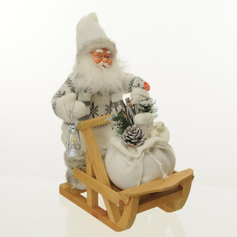 Babbo Natale sulla slitta con doni Musica e Movimento colore bianco