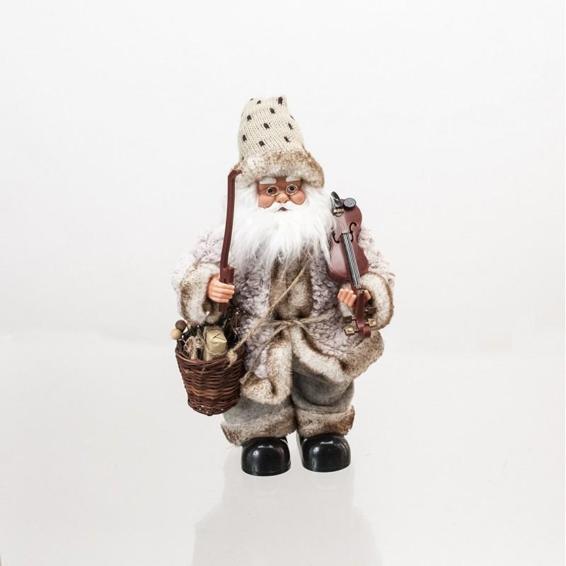 Babbo Natale con Violino  con movimento e musica colore Marrone