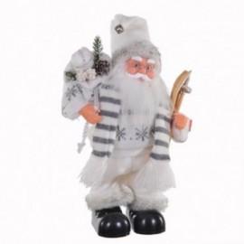 Babbo Natale con sci movimento e musica colore bianco e grigio