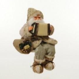 Babbo Natale seduto con Fisarmonica  Musica e Movimento colore marrone-beige