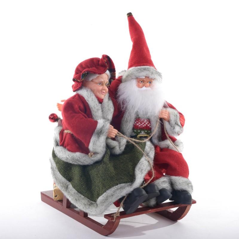 Babbo Natale con Moglie su slitta in legno  movimento e musica colore Rosso