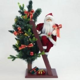 Babbo Natale sulla scala con albero di Natale addobbato con Musica e LED
