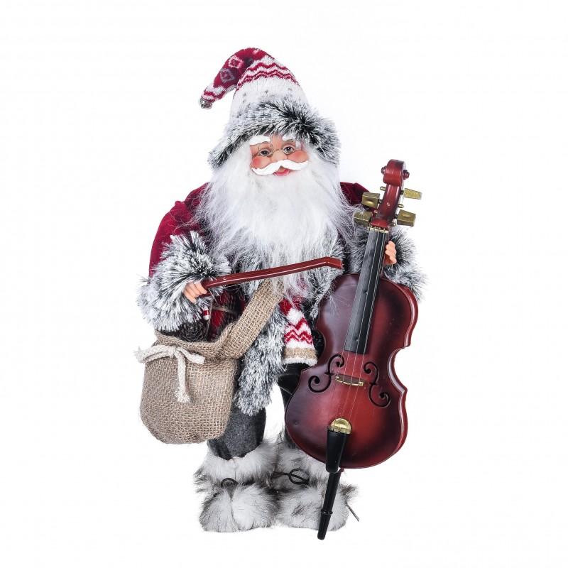 """Babbo Natale con strumento musicale """"contrabasso"""" musica e movimento colore rosso"""