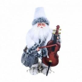 """Babbo Natale con strumento Musicale""""contrabasso"""" musica e movimento colore bianco e grigio fumo"""