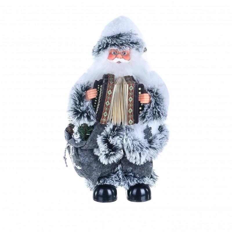"""Babbo Natale con strumento Musicale """"fisarmonica"""" con musica e movimento colore bianco e grigio fumo"""