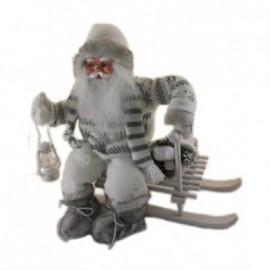 Babbo Natale seduto su Slittino colore bianco e grigio con Movimento e Musica