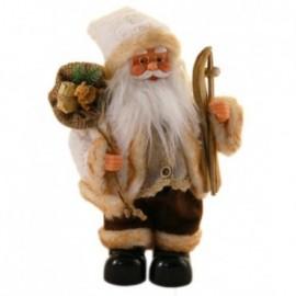 Babbo Natale con sci colore beige e marrone con Movimento e Musica